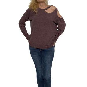LNA Cold Shoulder Cut-Out Shirt Size XS